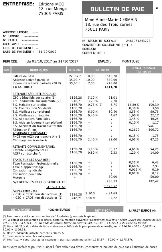 ffe64683173 Le bulletin de paye d un salarié au chômage partiel - Gérant de SARL